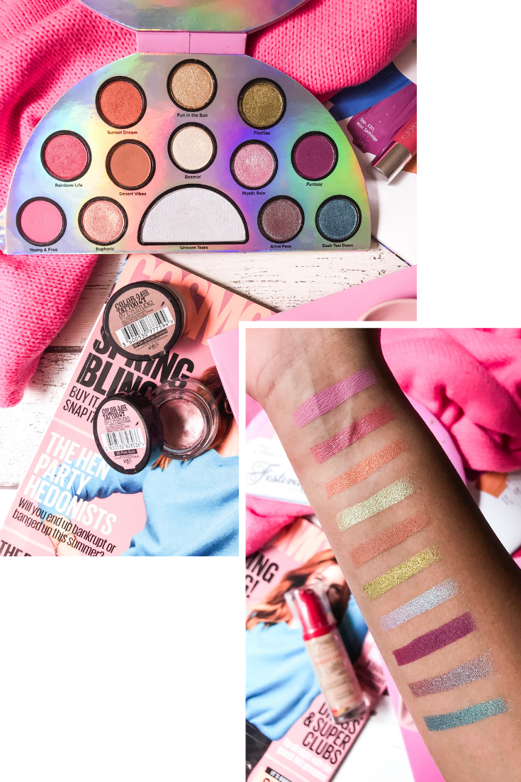 eyeshadow palette and swatch