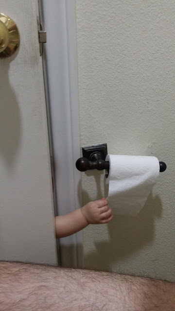 Baby stealing toilet paper