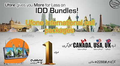 Ufone international call packages - Ufone international Calls Rates