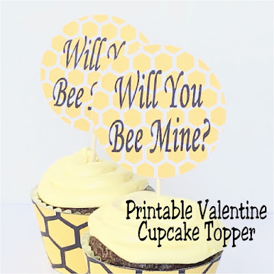 "Turn regular cupcakes into something amazing for your Valentine party with some printable valentine cupcake toppers. This ""Will You Bee Mine"" topper is a simple and fun way to add a little bit of fun to your dessert table."