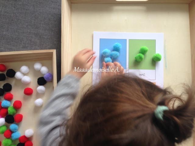 || Plateau sensoriel : Tri des couleurs avec des pompons