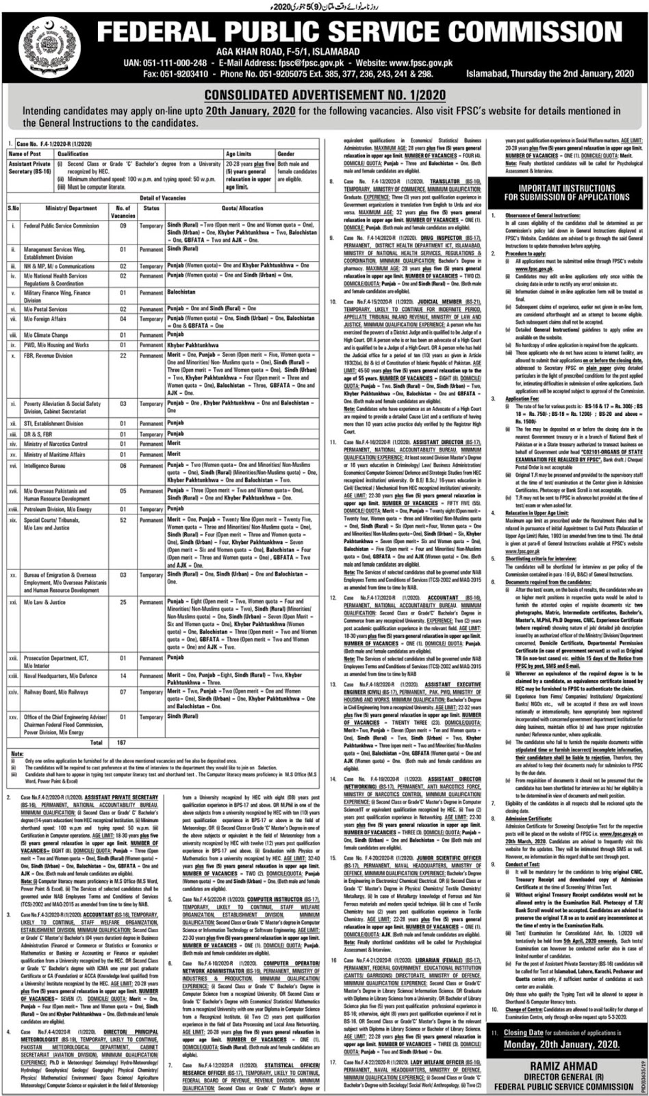 FPSC Jobs 2020 Apply Online Federal Public Service Commission Consolidated advertisement 01/2020