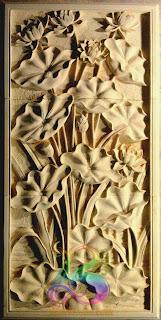 Relief bunga lotus batu alam paras jogja