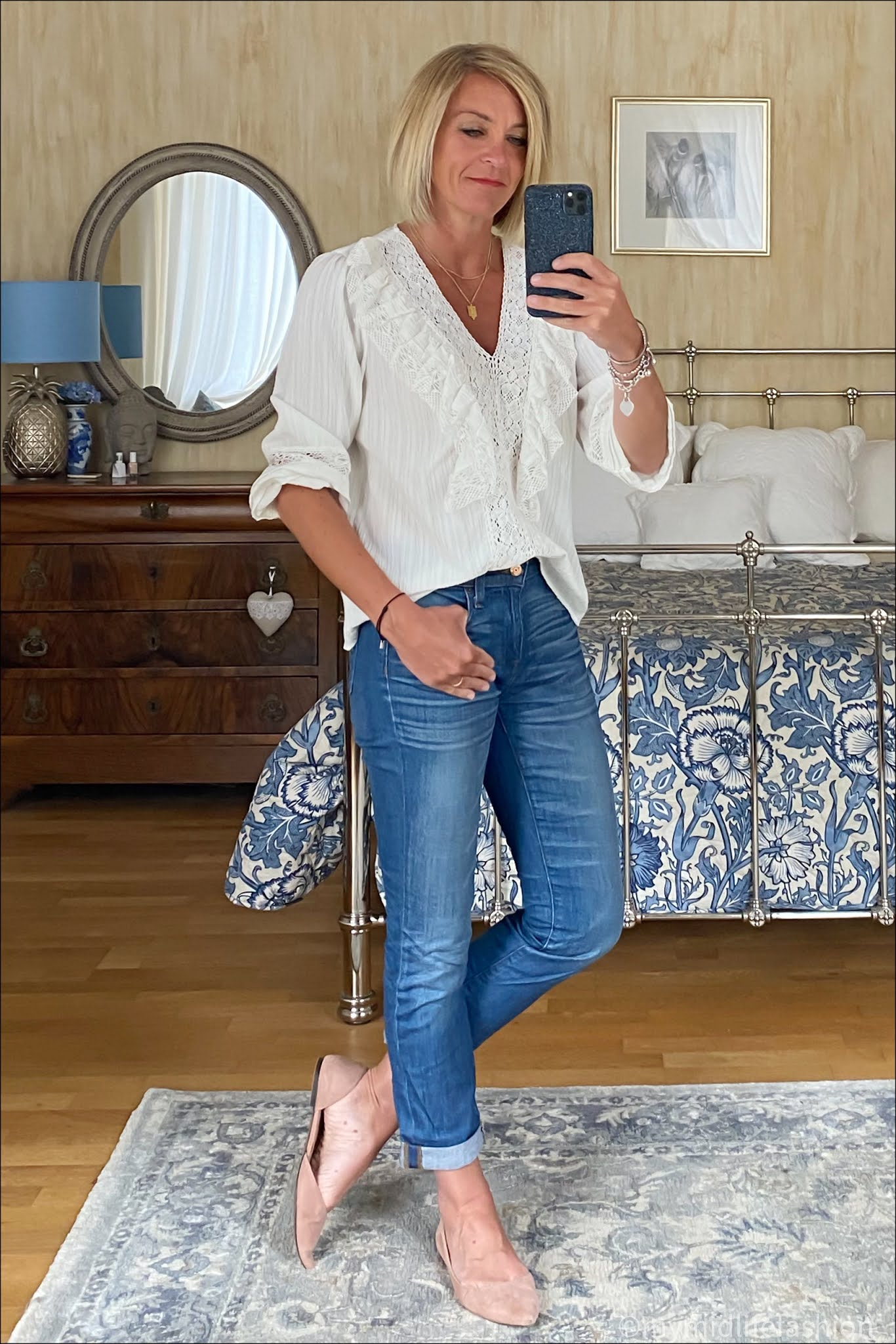 my midlife fashion, Zara embroidered white blouse, j crew boyfriend jeans, h and m suede cut out ballet flats