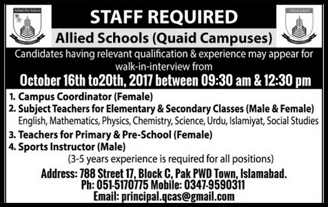 Teachers Jobs in Allied Schools Islamabad