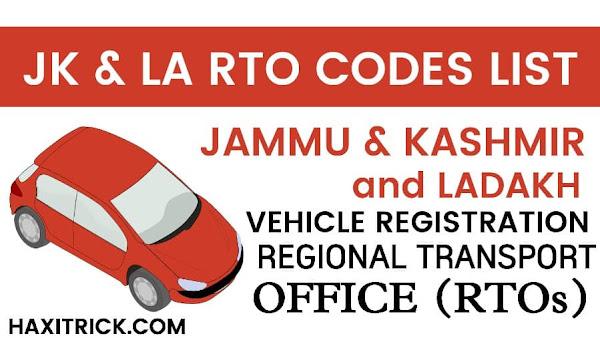 Jammu Kashmir (JK) and Ladakh (LA) RTO Codes List