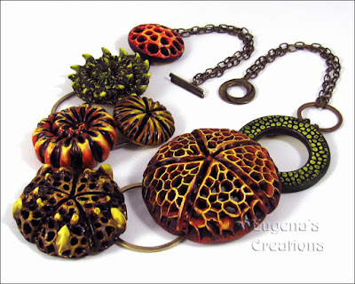 Organic polymer clay necklace by Eugena Topina