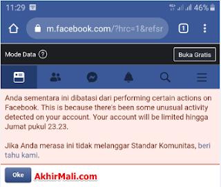 Tidak Bisa Llike dan Komentar di Facebook | Dibatasi dari Performing Certain Actions on Facebook
