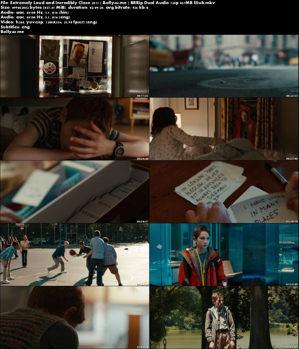 Extremely Loud and Incredibly Close 2011 BRRip 850MB Hindi Dual Audio 720p Download