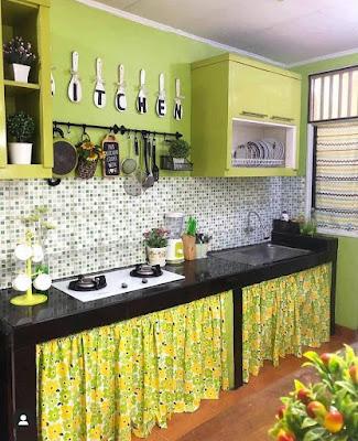 Desain dapur minimalis 2x2  cantik nuansa hijau