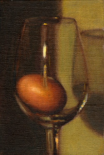 Oil painting of an egg in a wine glass in front of a green background.