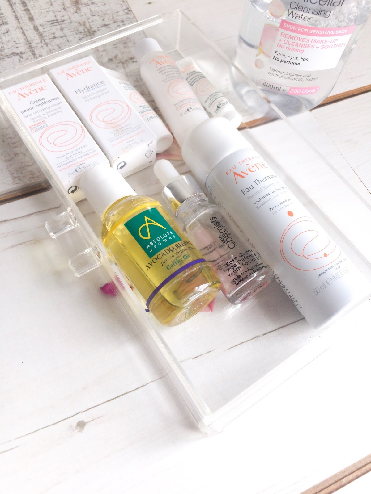 skincare routine with avene and oils