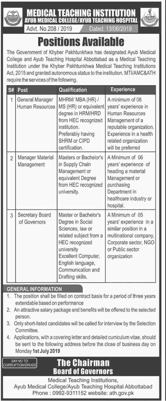 Ayub Medical College And Teaching Hospital 15 June 2019 Latest  Jobs