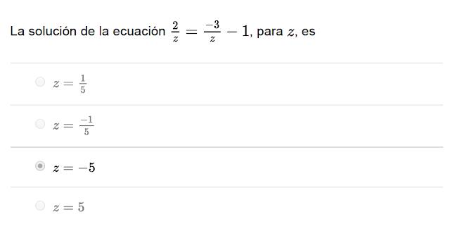 la solución de la ecuación de matemática es:
