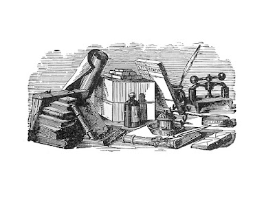 Vintage, black and white drawing of assorted books and stationary tools.