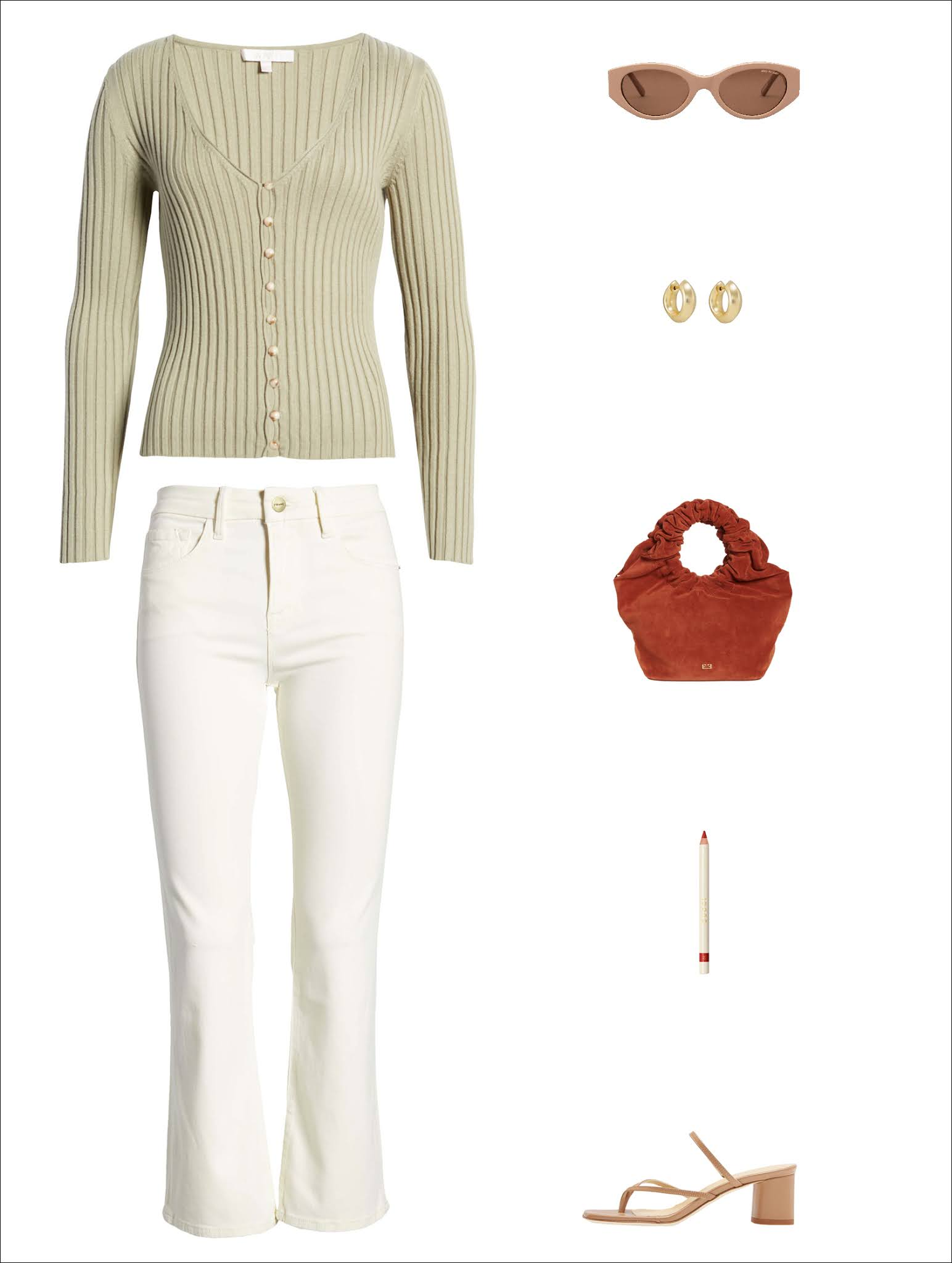Polished Yet Casual Spring Outfit Idea — muted green cardigan sweater, neutral sunglasses, chunky hoop earrings, a bold red mini bag, cropped white jeans, and beige sandals