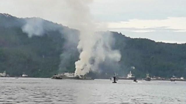 Kapal  Meledak di Selat Lembeh ,Beberapa Komponen Terkait Sigap Padamkan Api