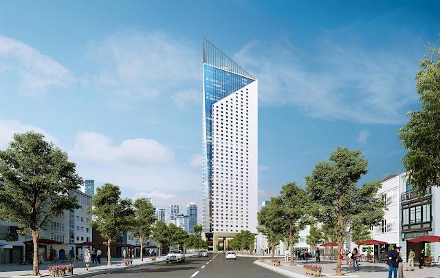 Phối cảnh tháp doanh nhân nhìn từ đường Thanh Bình với quy hoạch mở rộng