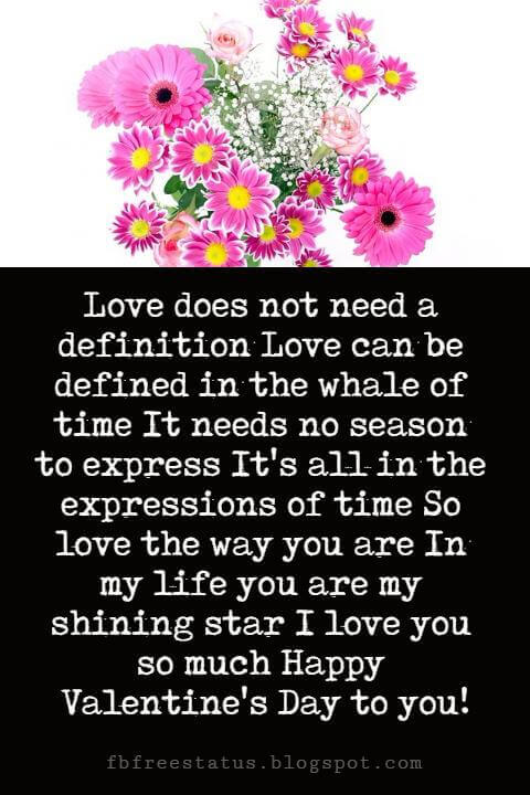 Happy Valentines Day Messages, Love does not need a definition Love can be defined in the whale of time It needs no season to express It's all in the expressions of time So love the way you are In my life you are my shining star I love you so much Happy Valentine's Day to you!