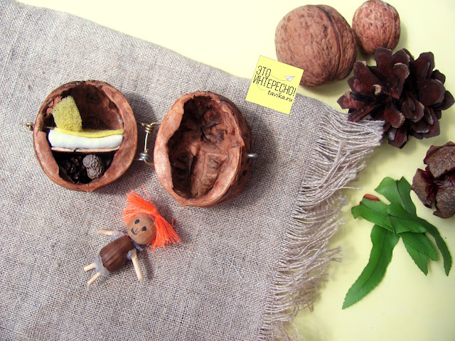 Домик в орехе - детская поделка