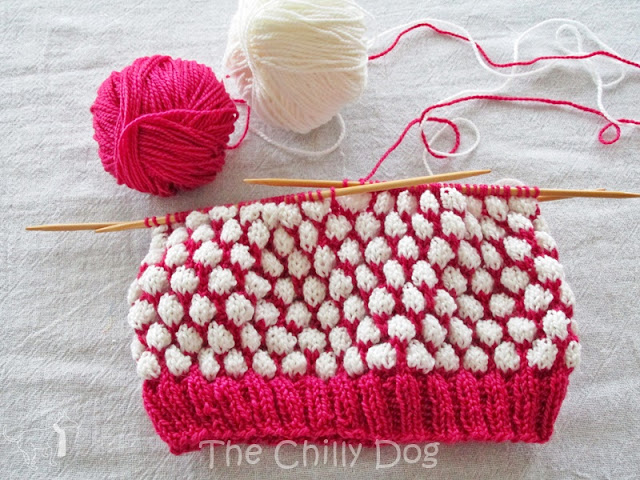 Knit Hat using the Coin Stitch or Blister Check Stitch and contrasting colors of yarn