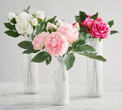 faux peonies Pottery Barn