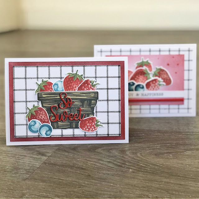 Sunny Studio Stamps: Layered Basket Berry Bliss Customer Card by Eva