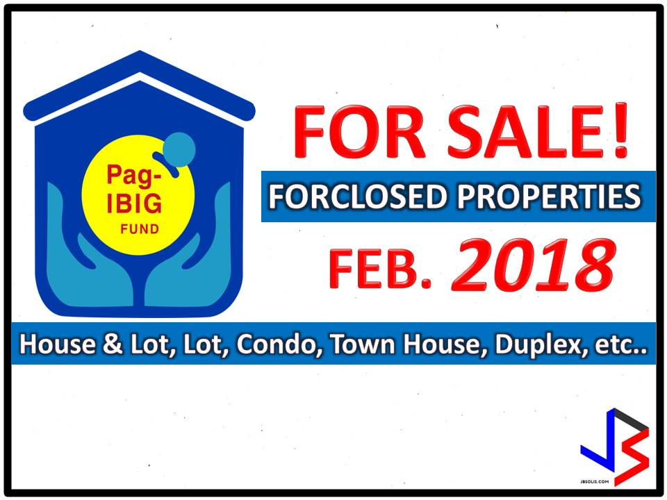 Are you looking for bankruptcy house or foreclosed house to buy for your family or for investment? The Pag-IBIG Fund has many acquired properties for sale in their foreclosure auction.   In real estate foreclosure listings below from Pag-Ibig Fund, you can find foreclosed homes or house and lot, vacant lot and any other properties. If you are lucky enough, you may acquire one of this properties at a cheap price compared to those in the market!  Note: Jbsolis.com is not affiliated with Pag-Ibig Fun and this post is not a sponsored. All information below is for general purpose only. If you are interested in any of these properties, contact directly with the bank's branches in your area or in contact info listed in this post. Any transaction you entered towards the bank or any of its broker is at your own risk and account.