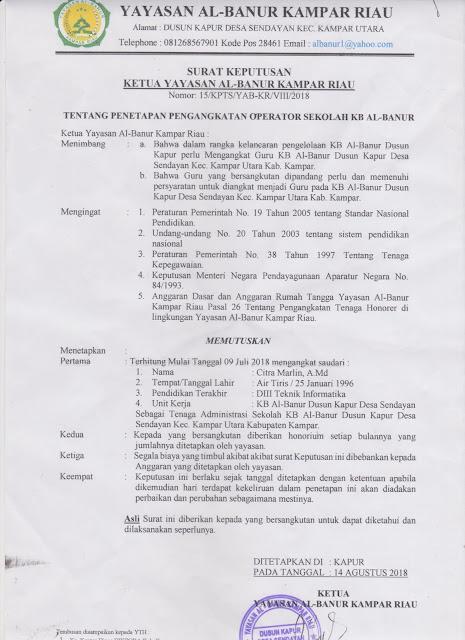 Contoh SK Operator Sekolah TK/KB Terbaru 2018