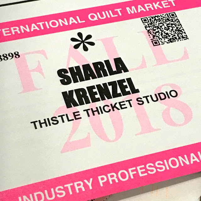Industry Professional Fall Quilt Market Badge For Thistle Thicket Studio. www.thistlethicketstudio.com