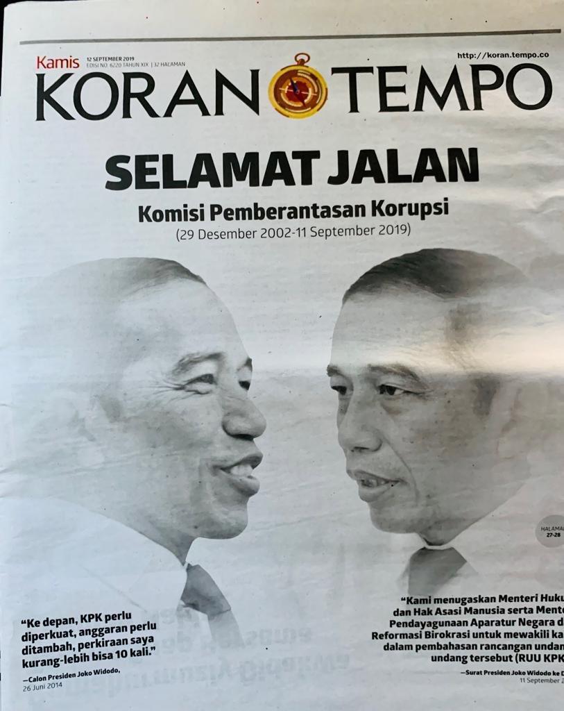 Sarkasme Koran Tempo: Selamat Tinggal KPK, Bergambar Muka Dua Jokowi
