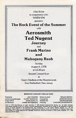 Back cover to the program booklet for the show August 6, 1978