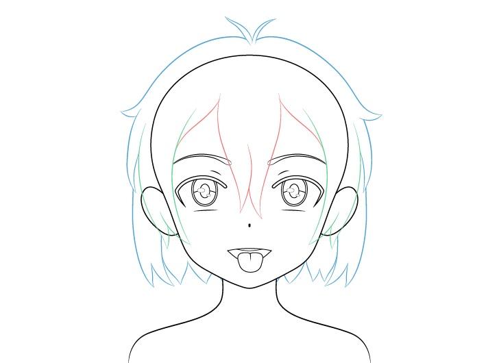 Gadis anime membuka mulut lidah keluar rambut menggambar