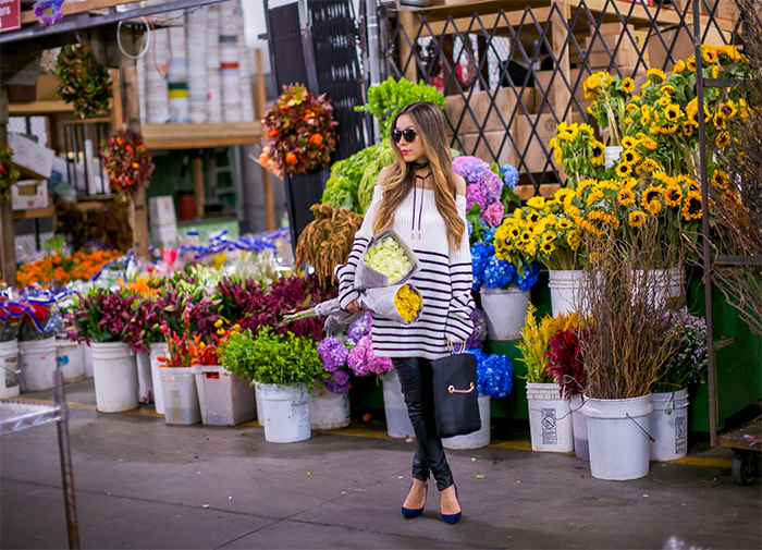 San Francisco Flower mart, off shoulder stripe sweater, baublebar choker, blank denim moto pants, whiting and davis tote, karen walker harvest sunglasses, san francisco fashion blog, san francisco street style, christian louboutin pumps, flower market