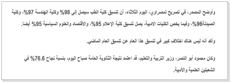 مؤشرات تنسيق المرحله الاولى للثانويه العامه 2014 - نتيجة تنسيق الثانويه العامه