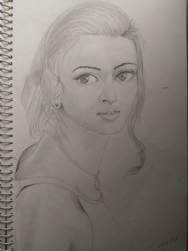 Pencil drawing woman