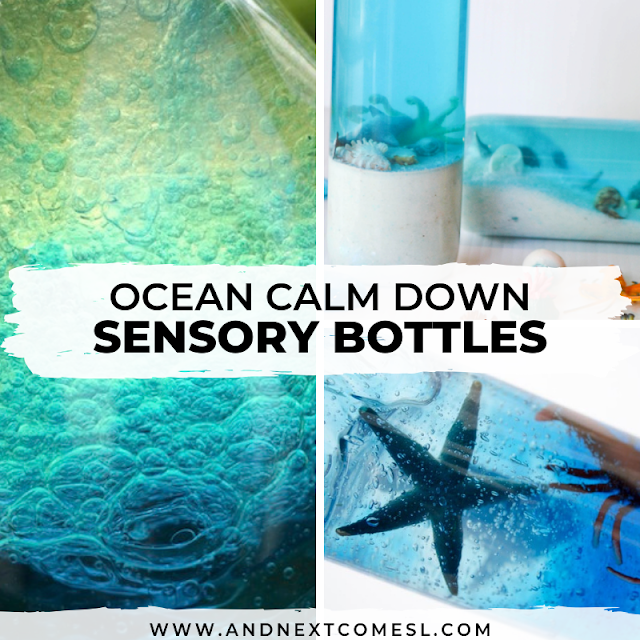 DIY ocean calm down bottles for toddlers