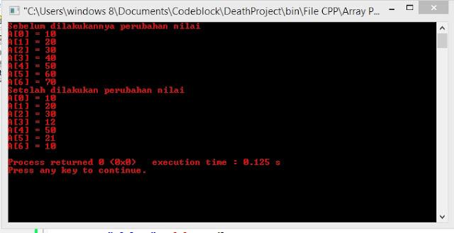 Hasil output program dengan cara looping