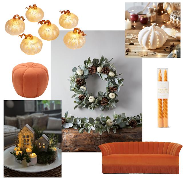minimal halloween decor white, soft leaves and metallic accents with orange velvet