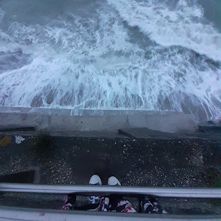 Looking down at fierce ocean swell