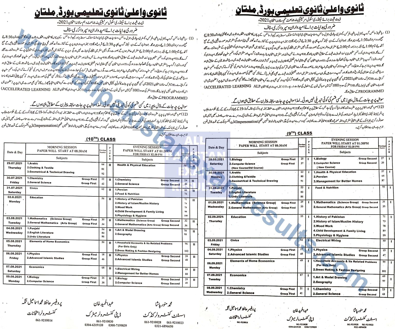 Date Sheet Multan Board 2021 Class 9 & 10 Annual Exam