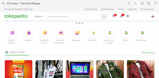Downloat Template Blog Mirip Tokopedia Untuk Jualan Online