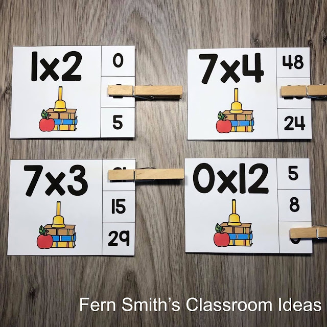 Click Here to Get These Back to School Multiplication 0 to 12 Basic Facts Clip Cards