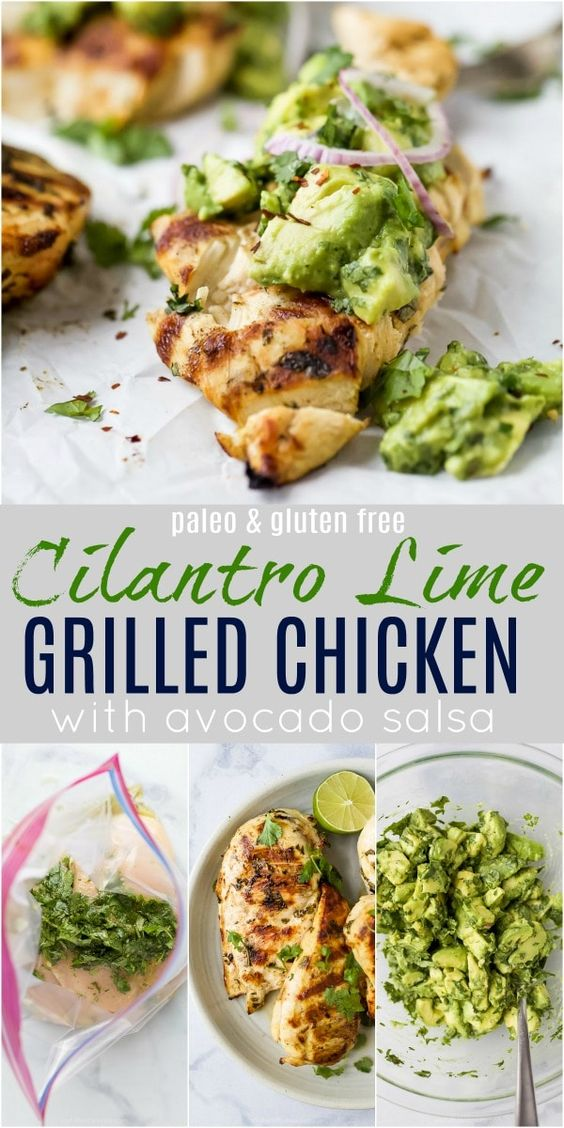 The Best Healthy Cilantro Lime Chicken with Avocado Salsa