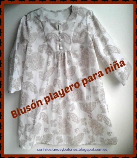 conhiloslanasybotones - túnica o blusón playero para niña