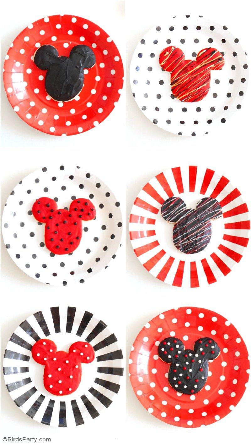 Idées DIY Pour un Goûter d'Anniversaire Mickey & Minnie - la décoration de fête à faire soi même, les cookies, activités amusantes et décor de table! by BirdsParty.fr @birdsparty