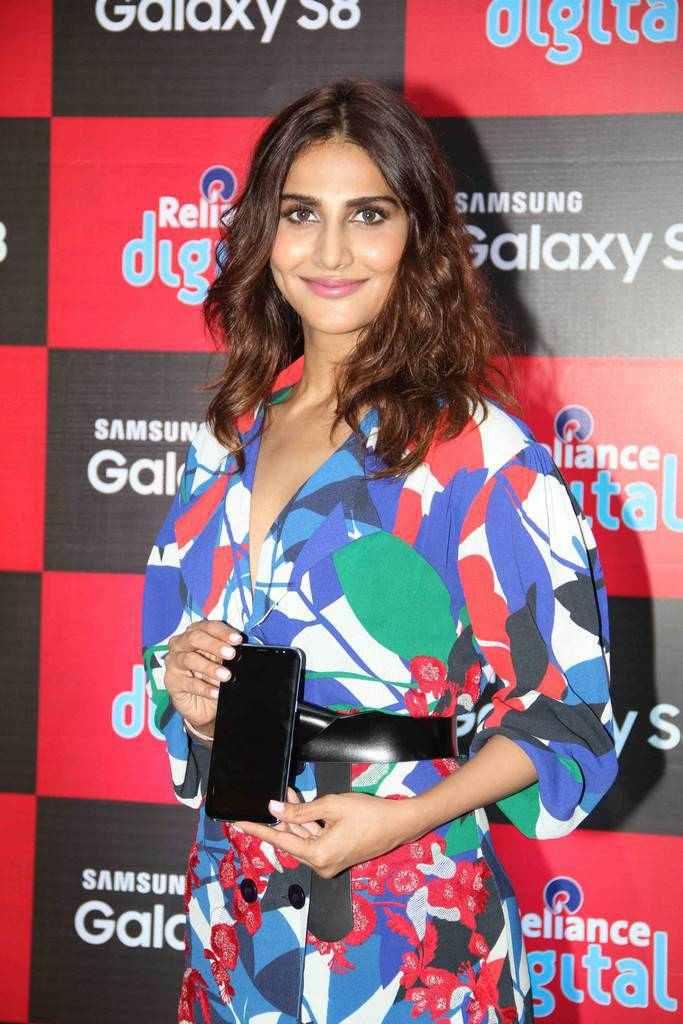 Vaani Kapoor Stills At Samsung Galaxy S8 Launch In Blue Dress