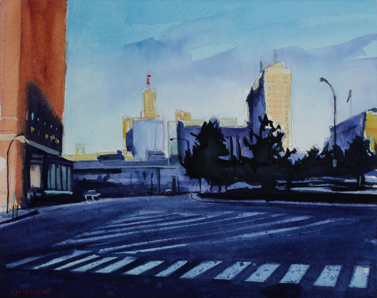watercolor painting of niagra square in downtown buffalo ny