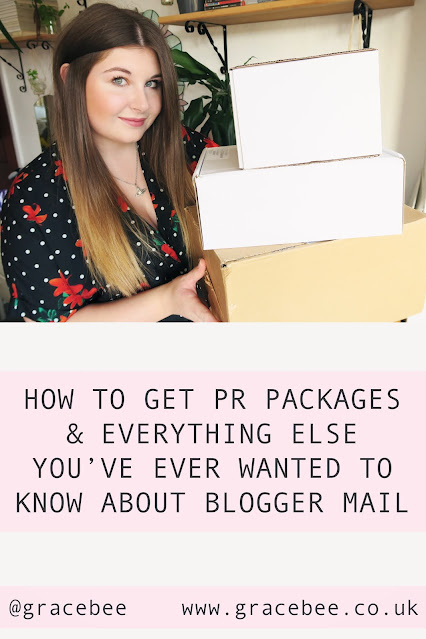 "Grace is holding 3 boxes full of PR products, below her is text that reads ""How to get PR packages & everything else you've ever wanted to know about blogger mail"""